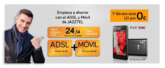 Pack Ahorro 100 de Jazztel: ADSL, fijo y móvil al mejor precio