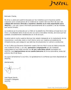 Comunicado oficial de Jazztel referente a la incidencia del 12 de marzo