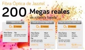 Detalle de las tarifas de fibra óptica de Jazztel: 20MB, 50MB y 200MB.