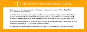 Comunicación oficial de Jazztel en la que comunica que recompensará a los clientes afectados por la caída con 5€