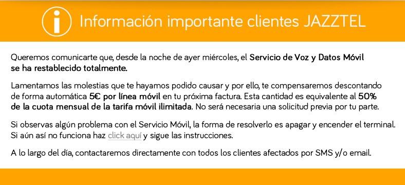Jazztel abonará 5€ por línea a cada cliente afectado por la caída de su red móvil