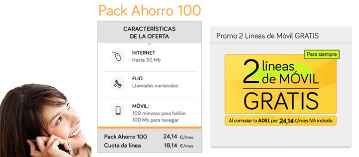 Jazztel regala una línea móvil adicional con el Pack Ahorro 100
