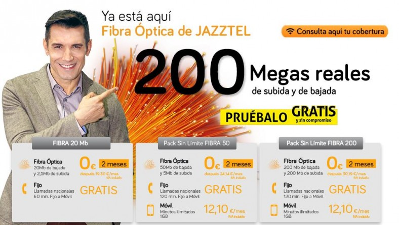 Jazztel ofrece 200 megas simétricos por fibra óptica gratis 2 meses
