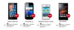 Modelos de móviles a 0 euros con Jazztel