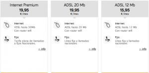 Detalle de tarifas de ADSL de Jazztel