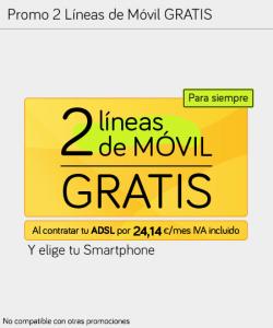 Promoción 2 líneas de móvil gratis con Jazztel