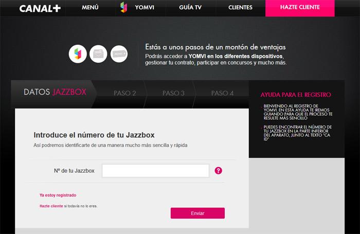 Página de registro de Jazzbox en Canal+