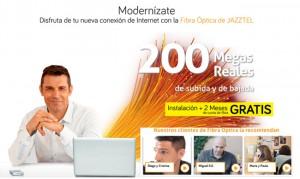 Fibra óptica de Jazztel: oferta 200 megas