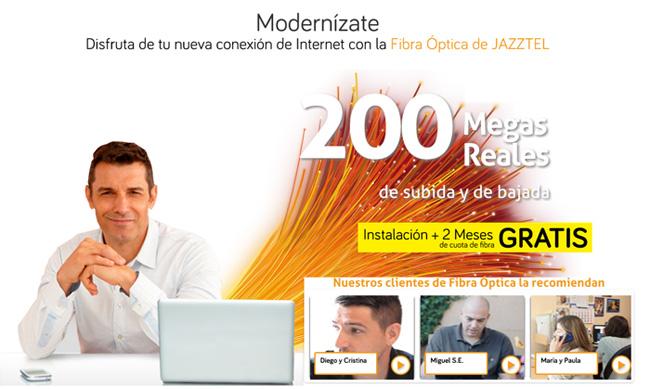 Jazztel ofrece la mejor oferta en fibra óptica del mercado en agosto