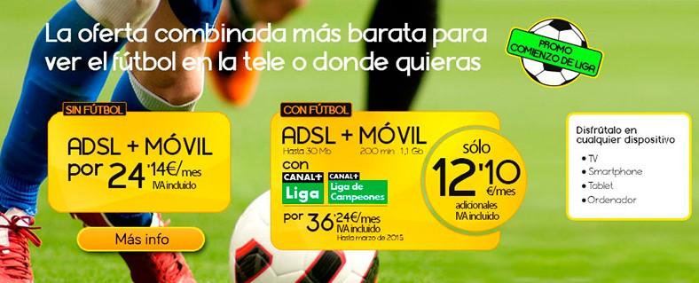 Jazztel lanza una promoción comienzo de Liga con Canal +, ADSL y móvil