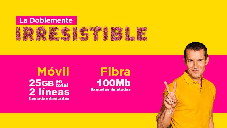 La Doblemente Irresistible de Jazztel: 100 Mb de fibra y 2 líneas móviles